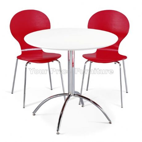 Kimberley Dining Set White & 2 Red Chairs Sale Now On Your Price Furniture